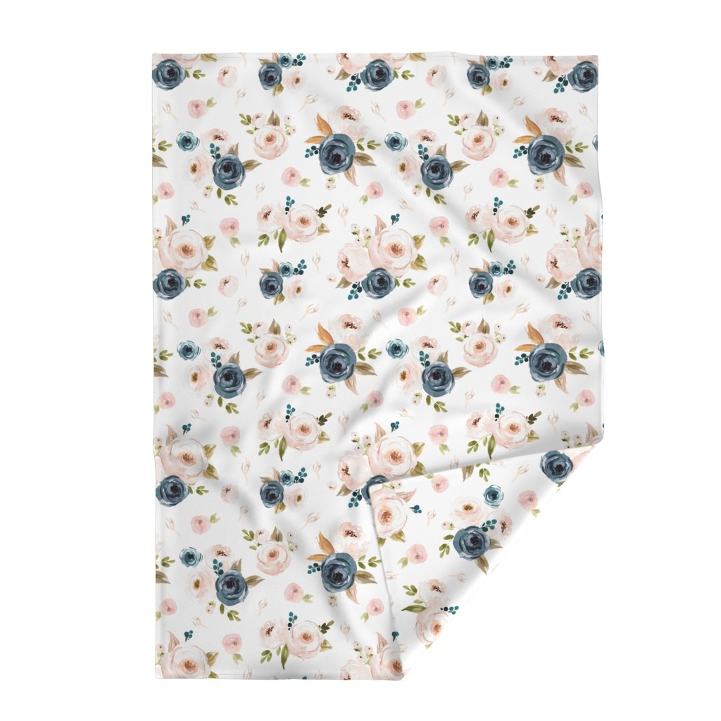 Lakenvelder Throw Blanket featuring Blush and Blue Floral Oversized by hudsondesigncompany
