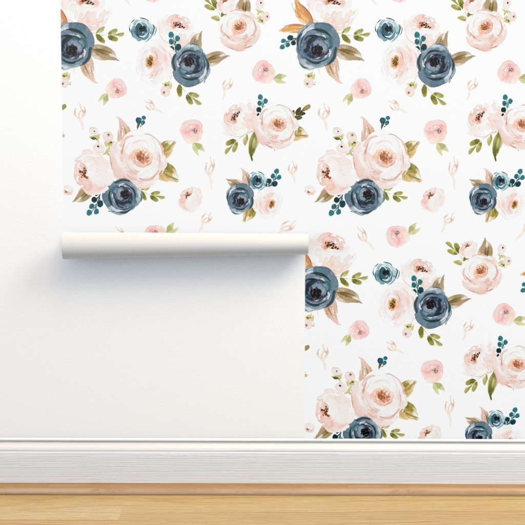 Isobar Durable Wallpaper featuring Blush and Blue Floral Oversized by hudsondesigncompany