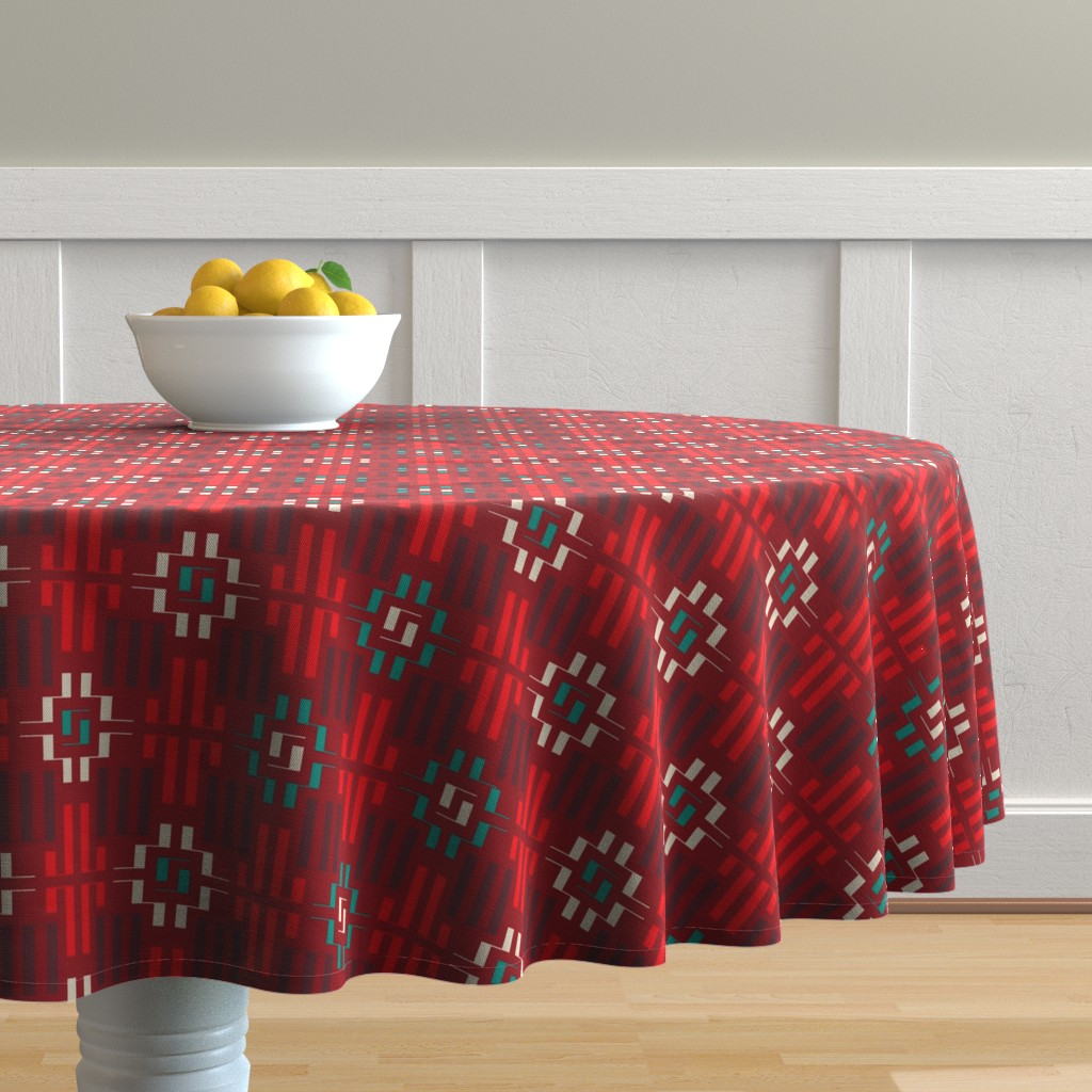 Malay Round Tablecloth featuring carpet by minyanna