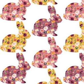 """3"""" Floral Bunny Silhouettes"""
