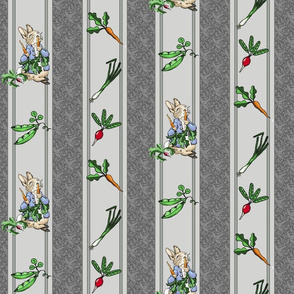 Peter Rabbit Garden Stripe Gray - Medium Scale