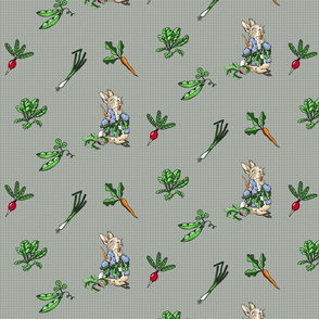 Peter Rabbit Toss - Modern Gray Gingham - Medium Scale