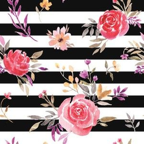 Autumnal Roses on Black and White Stripes