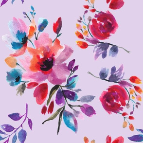 Multi Colorful Watercolor Florals on Lilac Ground