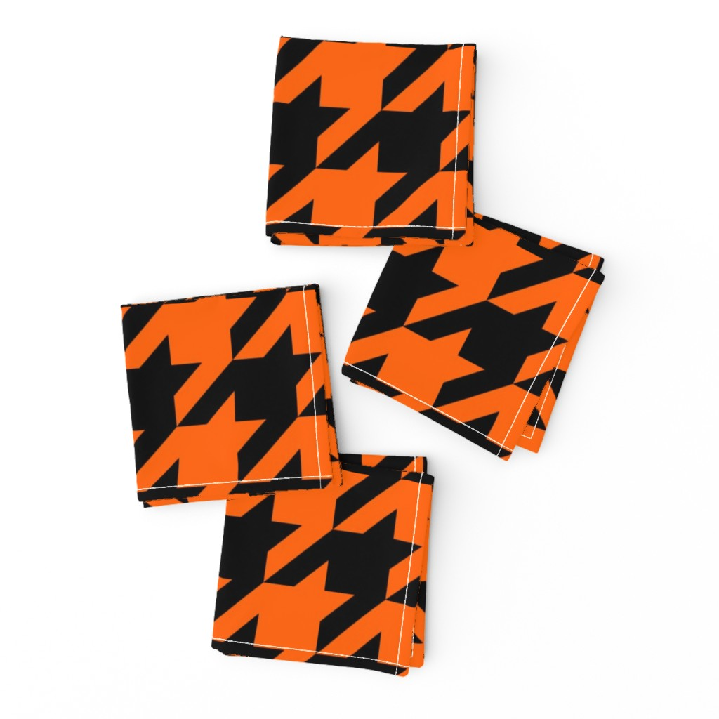 Frizzle Cocktail Napkins featuring Three Inch Orange and Black Houndstooth by mtothefifthpower