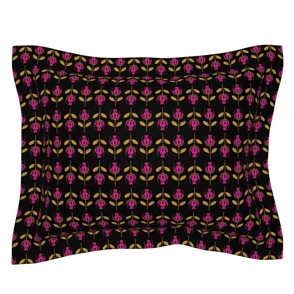 Sebright Pillow Sham featuring Botanical Flower Print on Black by thewellingtonboot