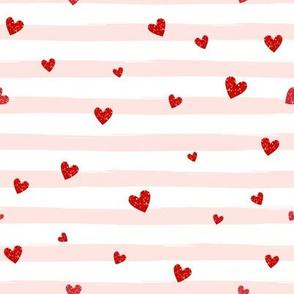 Red Confetti Hearts on Blush Stripes