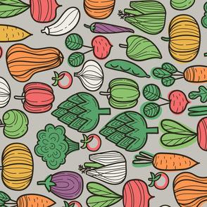 Autumn harvest design. Vegetables fabric pattern: pumpkin, apple, eggplant, broccoli, pepper, fennel, raddish, onion, beetroot, carrots, zucchini