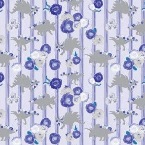 15-06A Small Gray Grey Dinosaurs 4 x 3 || painted blue purple floral botanical garlands purple stripes. Girl