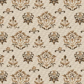 Autumn Watercolor Brown Damask Large 11 x 8 || owl bird