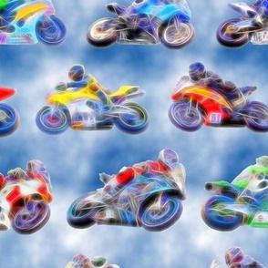 Motorbikes 2 - Blue White