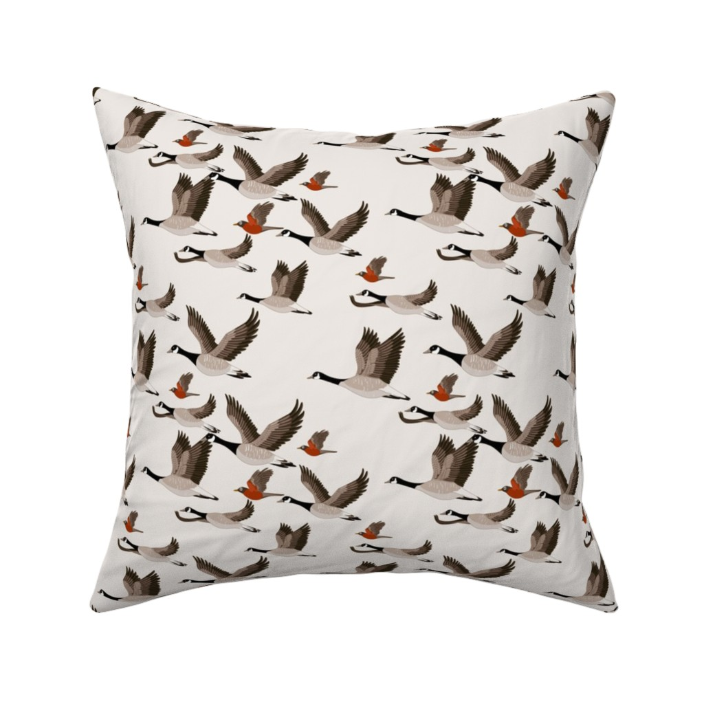 Catalan Throw Pillow featuring gueth_migratory_birds_half_size by juditgueth