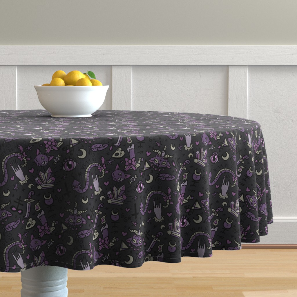 Malay Round Tablecloth featuring Original Cute Occult in Dark by pinkindetroit