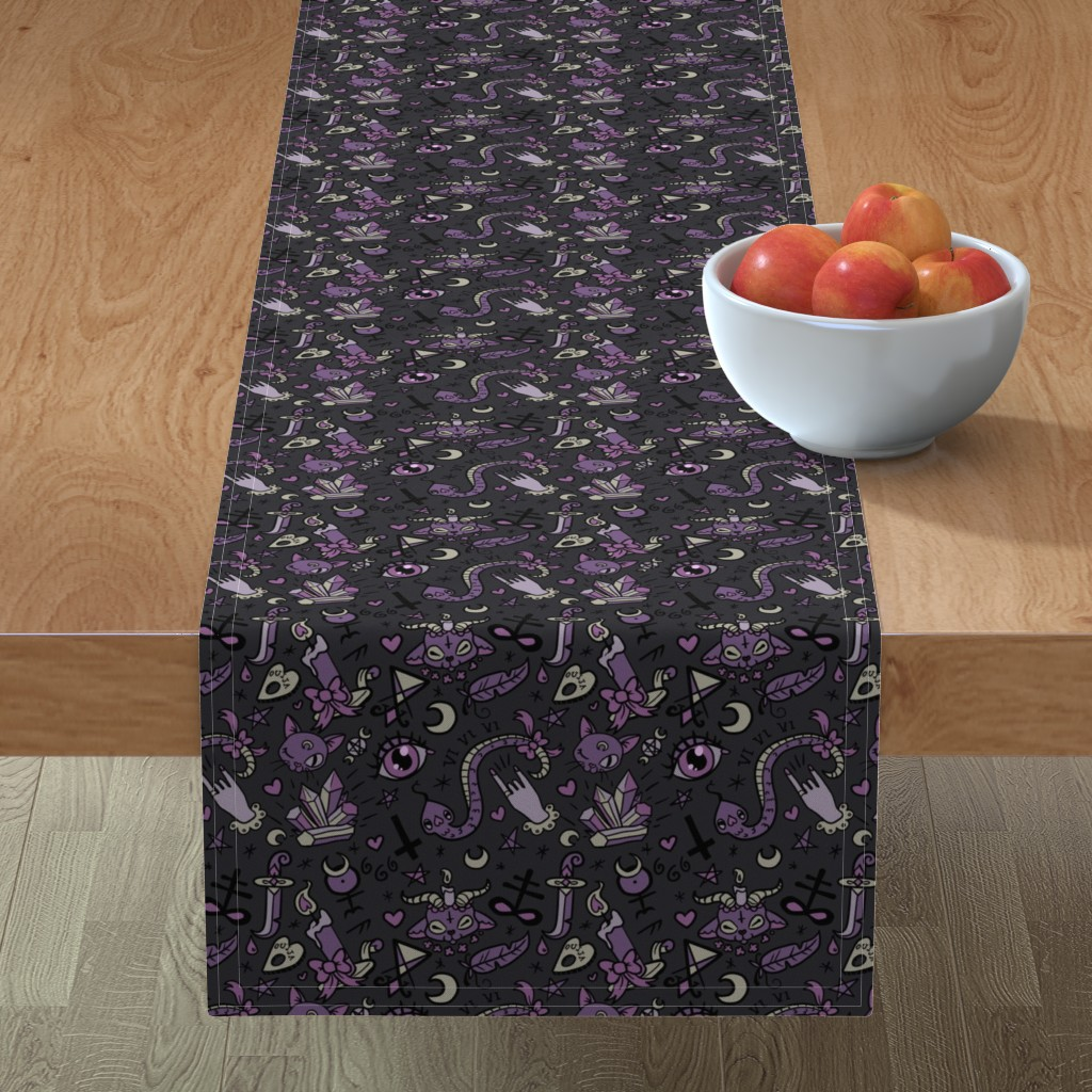 Minorca Table Runner featuring Original Cute Occult in Dark by pinkindetroit