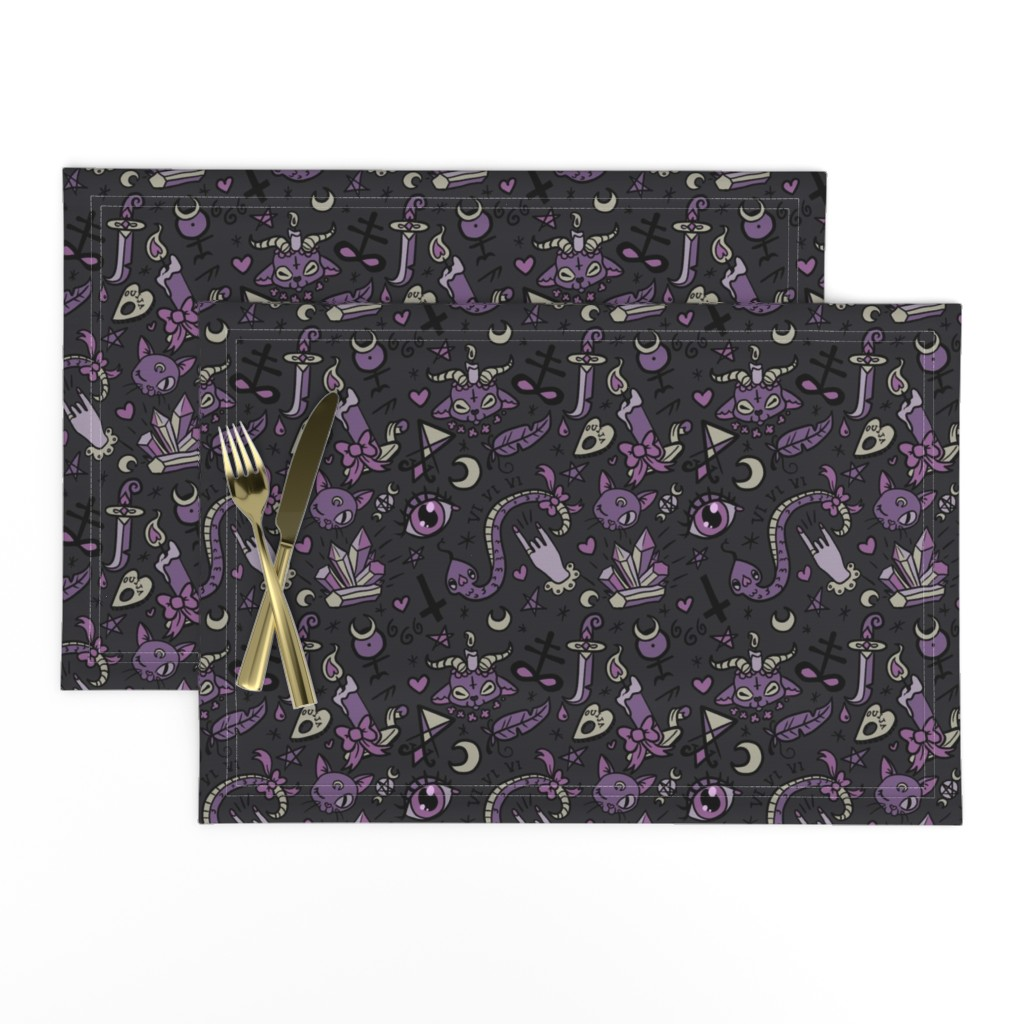Lamona Cloth Placemats featuring Original Cute Occult in Dark by pinkindetroit
