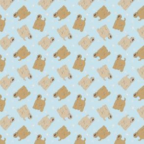 Tiny Wheaten Terrier - winter snowflakes