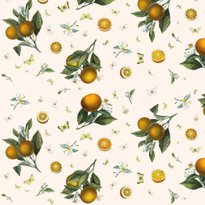 Oranges and White Butterflies on Ivory