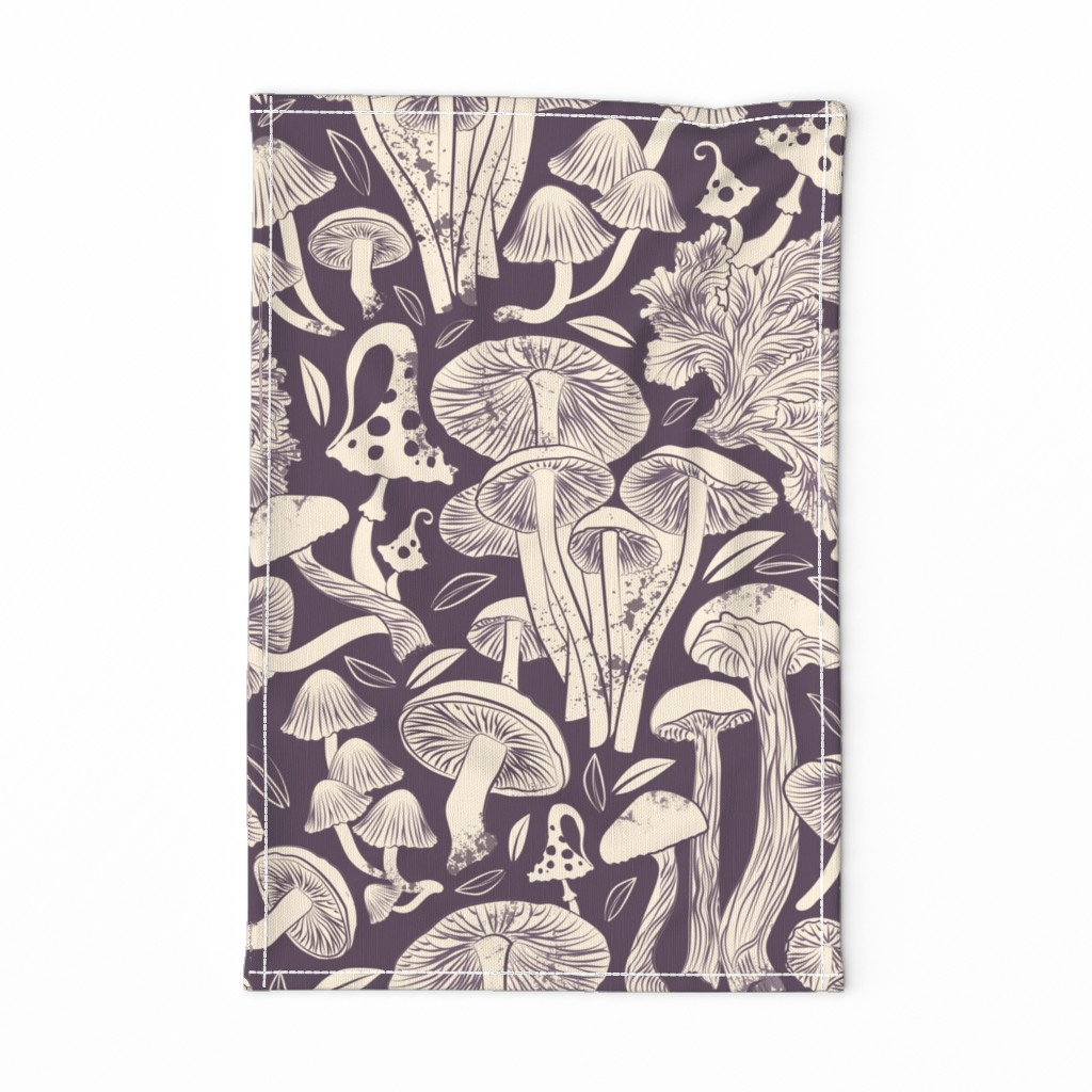 Special Edition Spoonflower Tea Towel featuring Delicious Autumn botanical poison // beet purple background beije mushrooms by selmacardoso