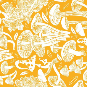 Normal scale // Delicious Autumn botanical poison // marigold yellow background white mushrooms
