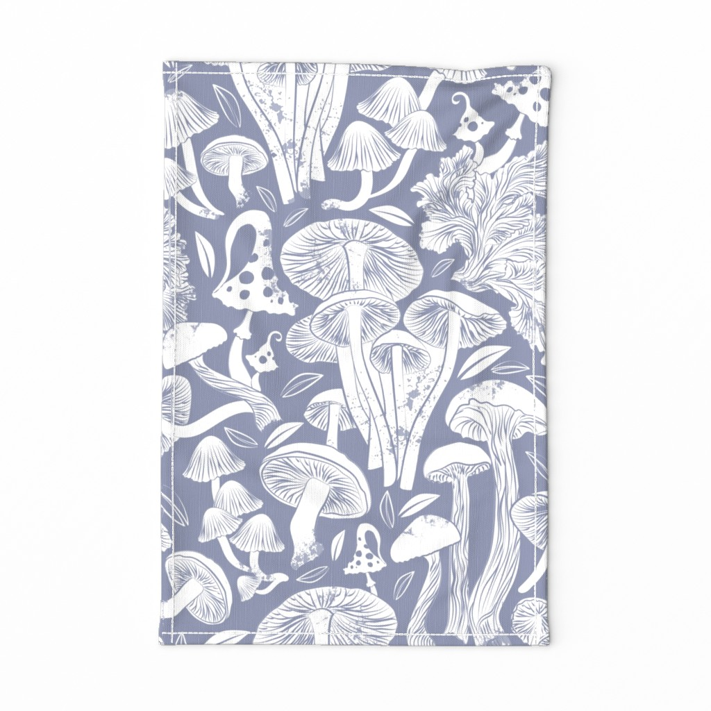 Special Edition Spoonflower Tea Towel featuring Delicious Autumn botanical poison // normal scale // pale blue grey background white mushrooms by selmacardoso