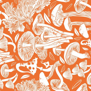 Normal scale // Delicious Autumn botanical poison // orange background white mushrooms