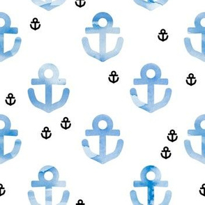 Watercolors anchor marine theme hello sailor life navy blue black