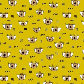 What are you looking at eyeballs and infinity eyelashes pop design mustard yellow