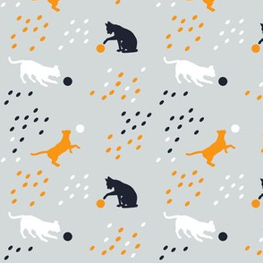 Cute cat silhouettes in grey orange midnight blue