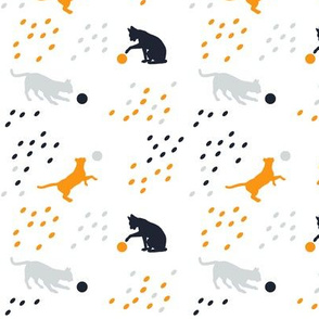 Cute playful cat silhouettes white mightnight blue orange