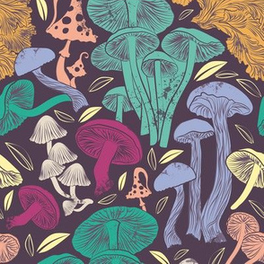Small scale rotated // Delicious Autumn botanical poison // multi coloured mushrooms