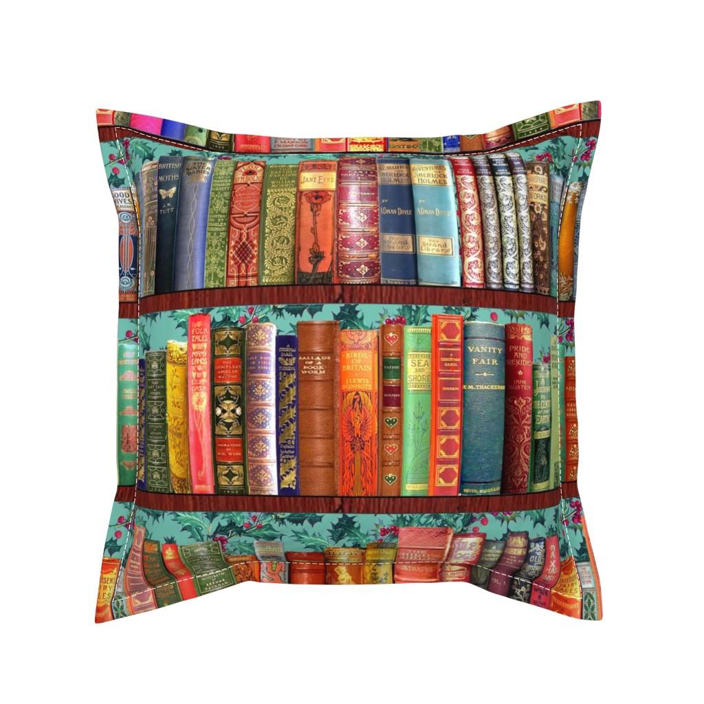 Serama Throw Pillow featuring Antique Books // Vintage Bookshelf/ Christmas Vintage Books, holly berries, bookshelf, Christmas books, Holidays, Hygge by magentarosedesigns