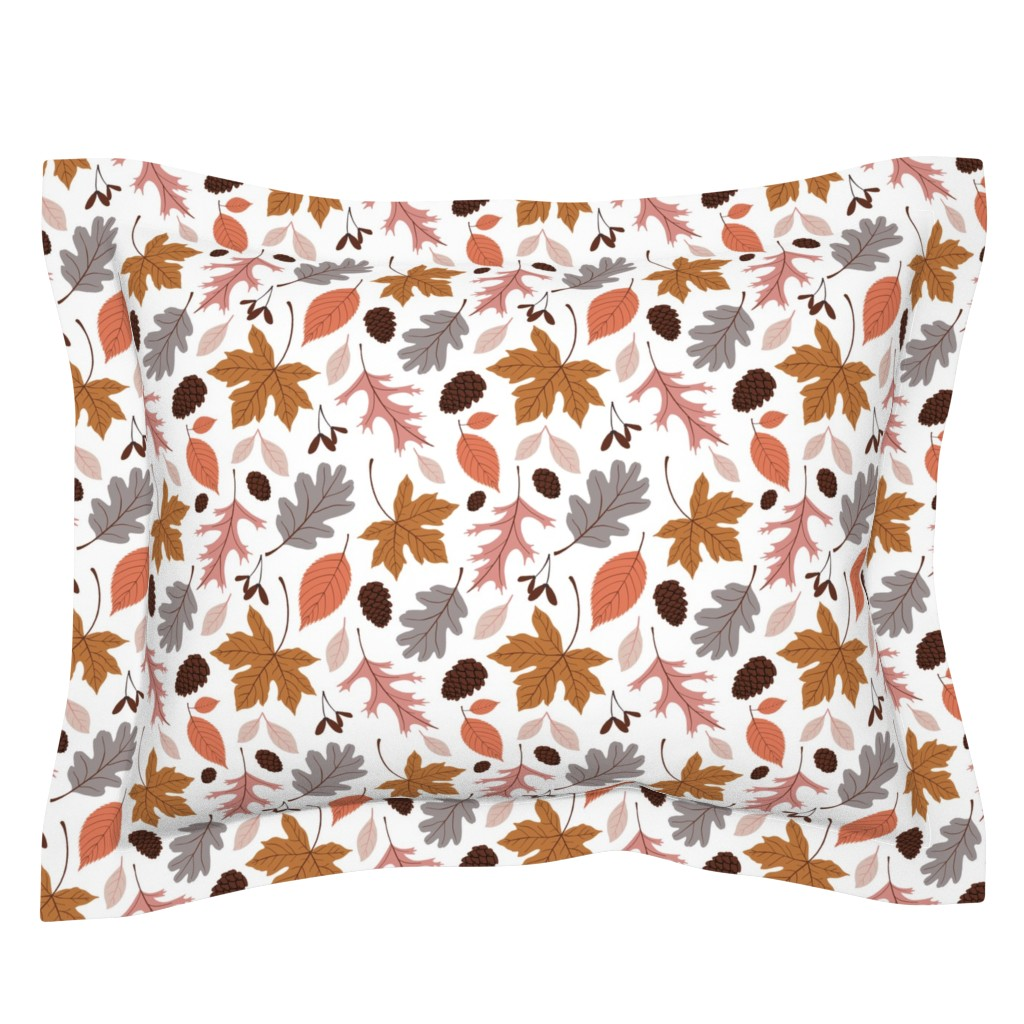 Sebright Pillow Sham featuring Fall Leaves on White by heather_anderson