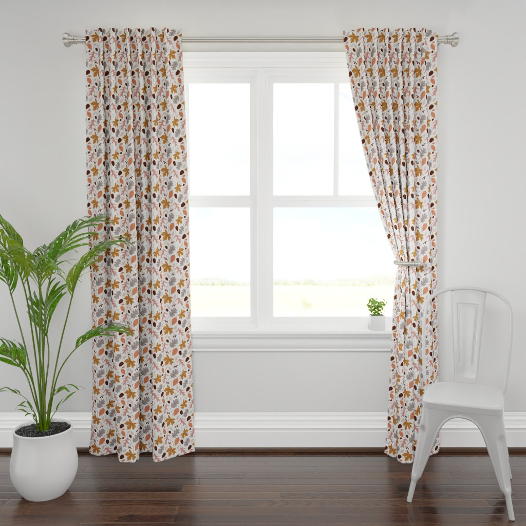 Plymouth Curtain Panel featuring Fall Leaves on White by heather_anderson