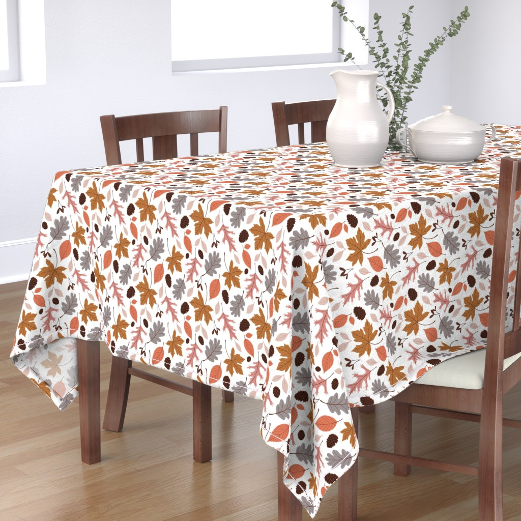 Bantam Rectangular Tablecloth featuring Fall Leaves on White by heather_anderson