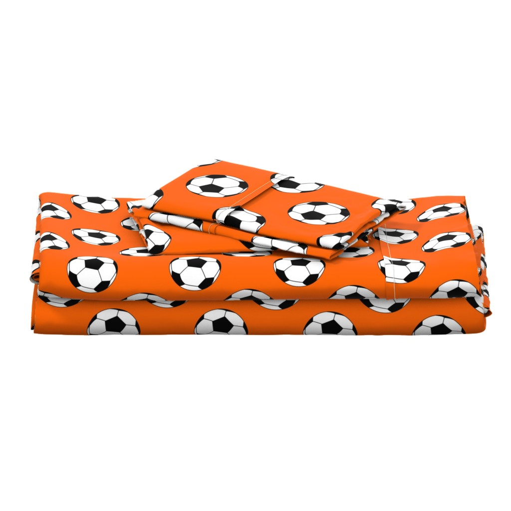 Langshan Full Bed Set featuring Three Inch Black and White Soccer Balls on Orange by mtothefifthpower