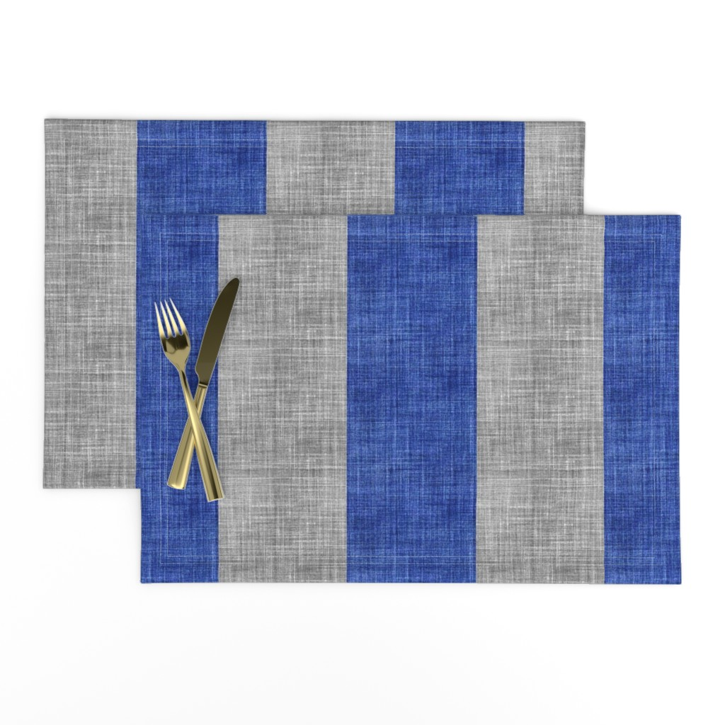 Lamona Cloth Placemats featuring Duo Faux Line blue and gray  by joanmclemore