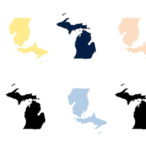 "Michigan silhouettes  with 1.5"" borders, multicolored"