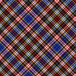 "Ogilvy or Drummond of Strathallan tartan, blue modern, 6"" diagonal"
