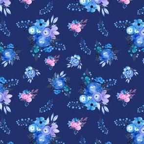 Blueberry Pretty floral, Blue floral