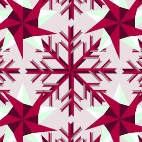 Magenta Snow Flake and Stars
