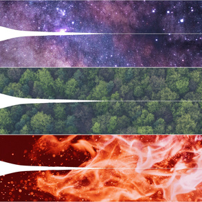 Stole panel: fire, forest, sky