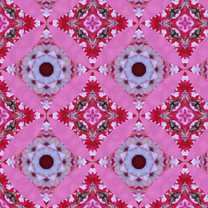 Mandala red white rose