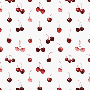 Medium Scale Cherries on Light Silver
