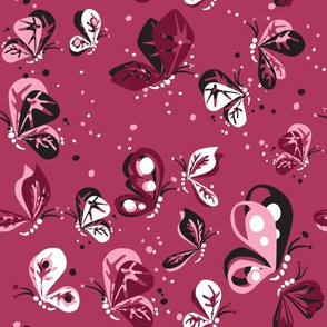 Butterflies in Pink, black, white and maroon