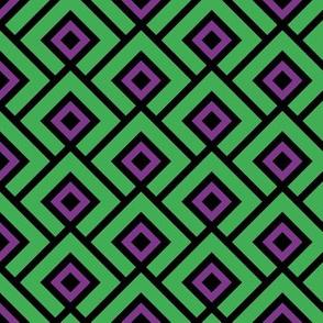 Geometric Pattern: Layered Diamonds: Green/Purple