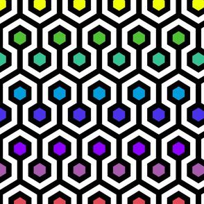 Geometric Pattern: Looped Hexagons: Rainbow