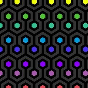 Geometric Pattern: Looped Hexagons: Dark Rainbow