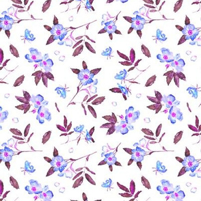 Floral pattern in blue and purple, watercolor
