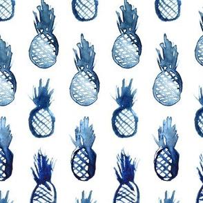 Watercolor blue pineapples