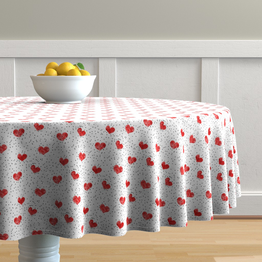Malay Round Tablecloth featuring watercolor heart || scatter dots - red by littlearrowdesign
